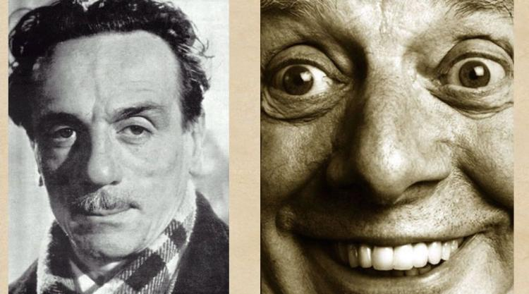 photos of De Filippo and Dario Fo