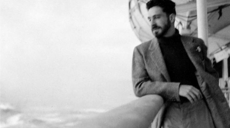 Photo of Anthony Hecht crossing the Atlantic, circa 1950