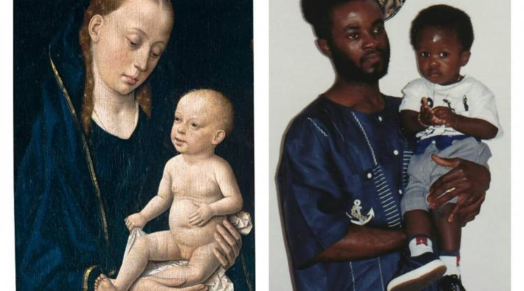 "L: ""Madonna and Child"", c. 1465, by Dieric Bouts. R: A photo of me and my father. Theophilus Imani"