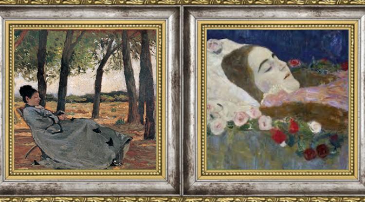 Giovanni Fattori: La signora Teresa Fabbrini a Castiglioncello, 1867 / Gustav Klimt: Ria Munk on her Deathbed, 1912