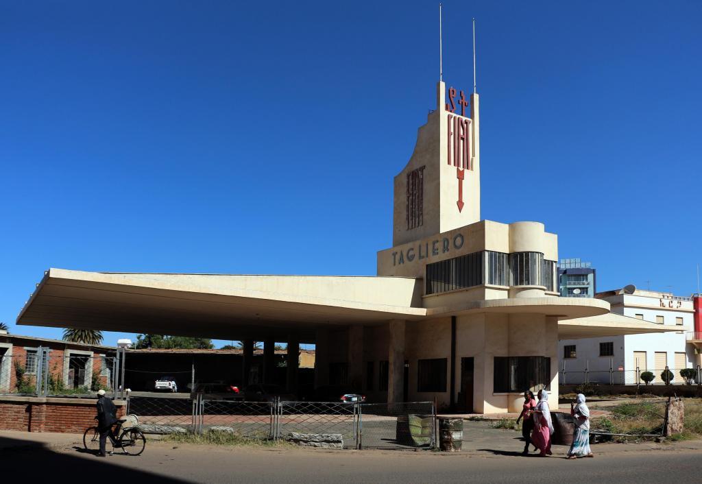 photo of the Fiat Tagliero Building, Asmara, Eritrea, 1938. Designed by Giuseppe Pettazzi