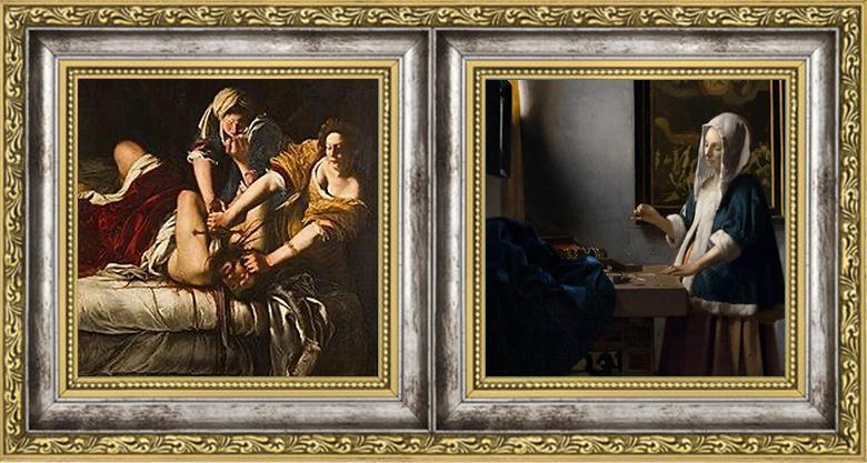 Artemisia Gentileschi Judith Slaying Holofernes 1614–1620/Johannes Vermeer Woman Holding a Balance, c. 1664