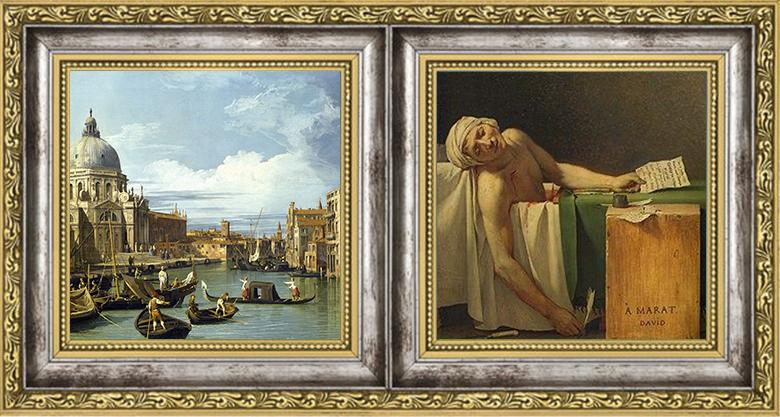 Canaletto Entrance to the Grand Canal, Venice, c.1730/Jacques-Louis David Death of Marat 1793