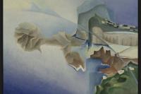 """Benedetta, """"Aeropittura di un incontro con l'isola."""" Oil on canvas, ca. 1936, Galleria Nazionale d'arte moderna e contemporanea, Rome"""